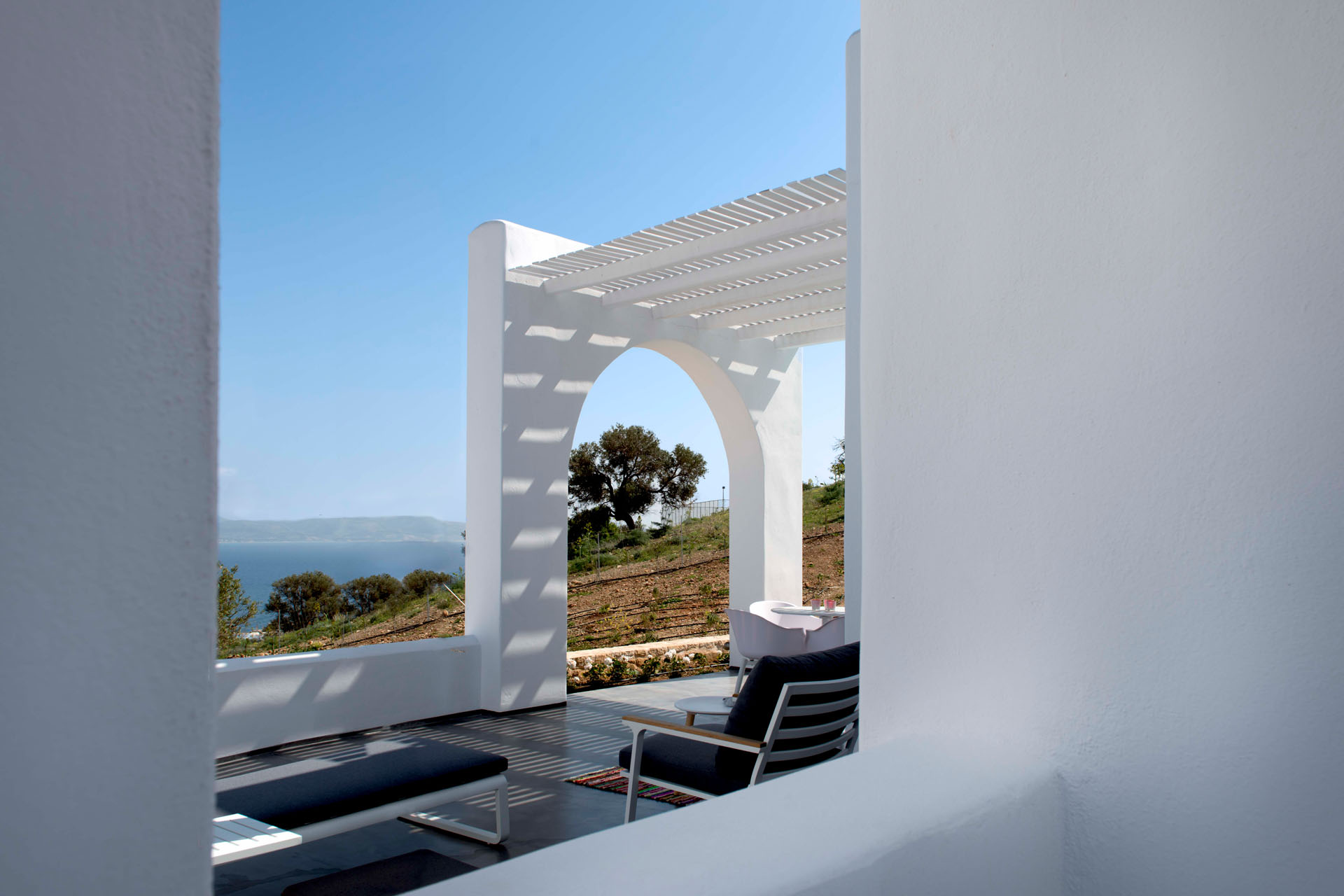 Galini Breeze private terrace with sea view