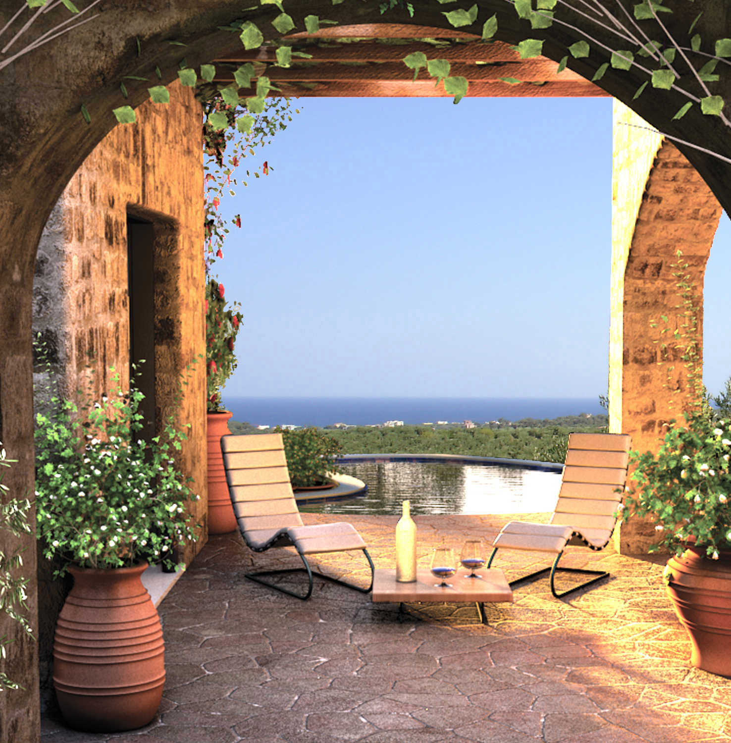 Stone Arch on Terrace