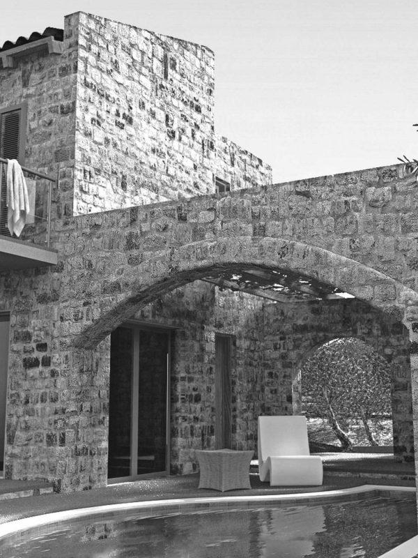 Villa Jasmine - Stone arch and swimming pool